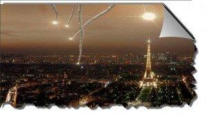 Париж вечером праздничный феерверк