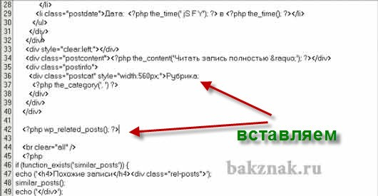 Вставляем код в файл одиночная запись
