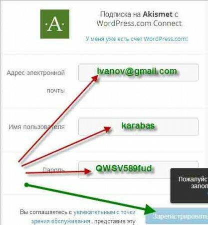 Регистрация Акисмет через электронную почту
