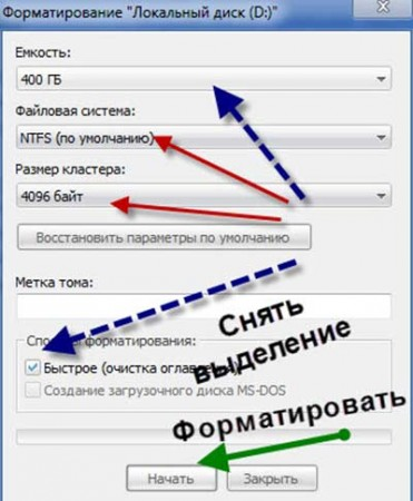 Настройки форматирования жёсткого диска windows 7
